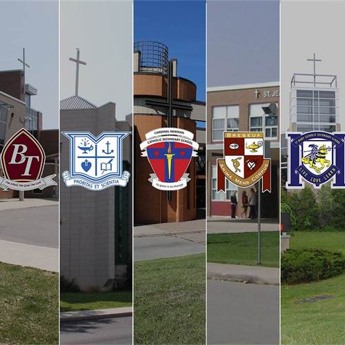 From Left to Right: Bishop Ryan Catholic Secondary School, Bishop Tonnos Catholic Secondary School, Cathedral Catholic Hight School, Cardinal Newman Catholic Secondary School, St. Jean de Brebeuf Catholic Secondary School, St. Mary Catholic Secondary School, St. Thomas More Catholic Secondary School
